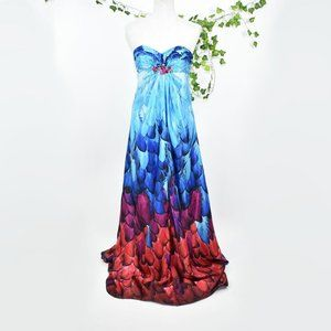Bari Jay blue vintage formal ombre feather gown